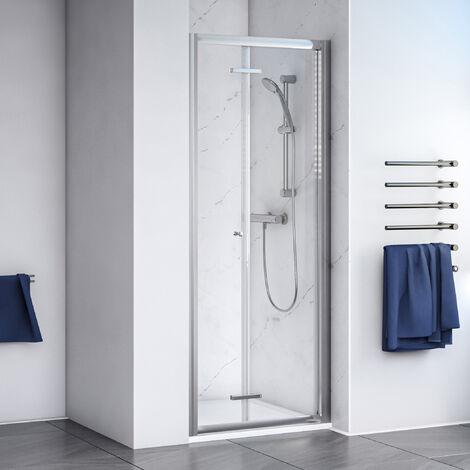 Aqualux Shine 6 Bi-Fold Shower Door 900mm Wide Silver Frame - Clear Glass