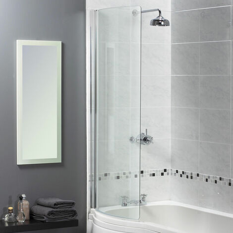 Aqualux Shine 6 Half-Frame Curved Bath Screen, 720mm Wide, Silver Frame, 6mm Clear Glass