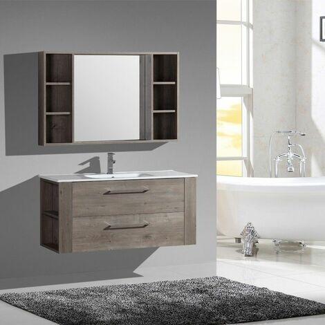 Aquanoma meuble bas avec vasque 2 tiroirs 1200 x 460 x 550 mm effet bois - JINDOLI