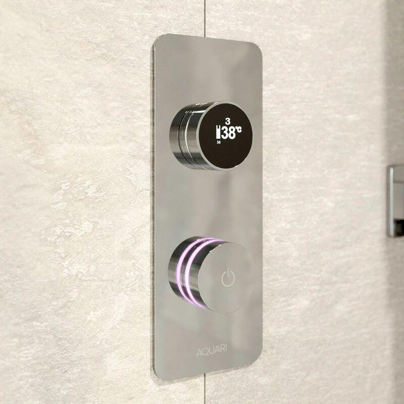 Image of Aquari Digital Display Shower Valve Single Outlet Auto Shutdown Chrome WRAS