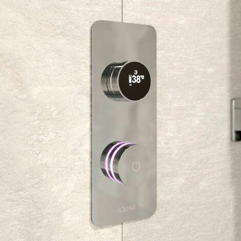 Aquari Digital Display Shower Valve Single Outlet Auto Shutdown Chrome WRAS