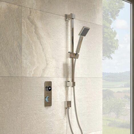 Aquari Digital Shower Adjustable Square Head Thermostatic Contemporary Bathroom