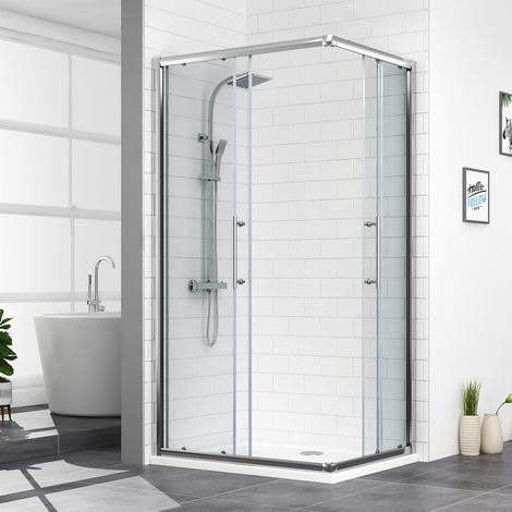 Aquariss 1000 x 800mm Offset Corner Entry Shower Enclosure with Easy Clean Glass- FREE Shower Tray & Waste