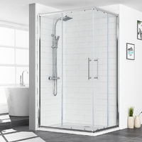 Aquariss 1200 x 900mm Offset Corner Entry Shower Enclosurewith Easy Clean Glass - FREE Shower Tray & Waste