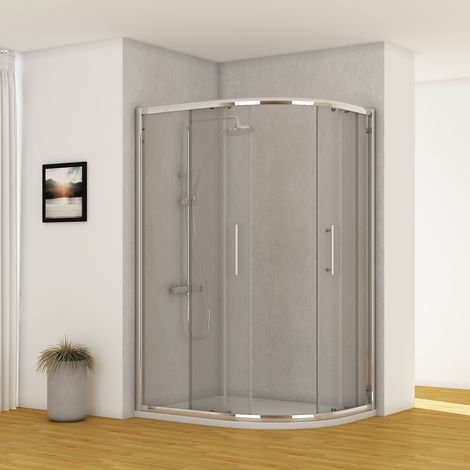 Aquariss 1200 x 900mm Offset Right Hand Quadrant Shower Enclosure with Easy Clean Glass - FREE Shower Tray & Waste