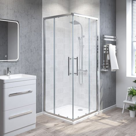 Aquariss 800mm Corner Entry Shower Enclosure with Easy Clean Glass - FREE Shower Tray & Waste