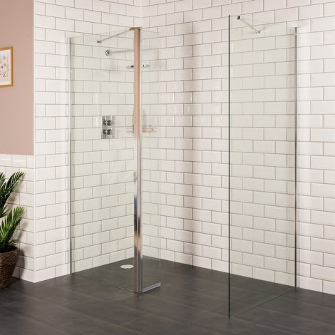 Aquariss 900 x 800mm Wet Room Shower Enclosure with 8mm Easy Clean Glass
