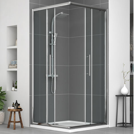 Aquariss 900mm Corner Entry Shower Enclosure with Easy Clean Glass- FREE Shower Tray & Waste