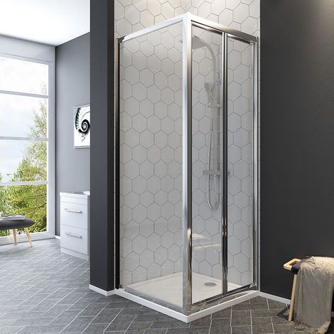 Aquariss Bi-Fold Shower Enclosure with Easy Clean Glass - With Shower Tray & Waste