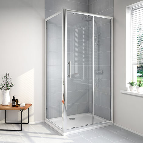 Aquariss Sliding Door Shower Enclosure with Easy Clean Glass - With Shower Tray & Waste