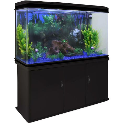 Aquarium Fish Tank & Cabinet with Complete Starter Kit - Black Tank & Blue Gravel
