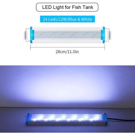 Aquarium Led 28Cm / 11.02In Fish Tank Lumiere Supports Led Blanches Extendable Bleues Pour Reservoirs D'Eau Douce Plantees, Blanc
