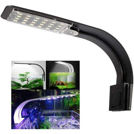 Aquarium Light LED Lamp White and Blue Nano Clip-on Lighting for Fish Plants 23-50 cm