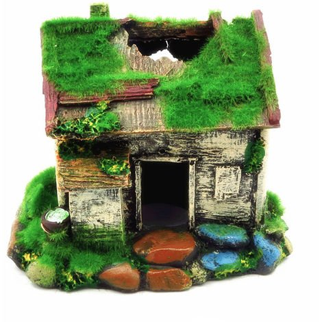 Aquarium Ornament Resin Artificial Moss House Shaped DIY Hollow Hides Ornament, Type 2