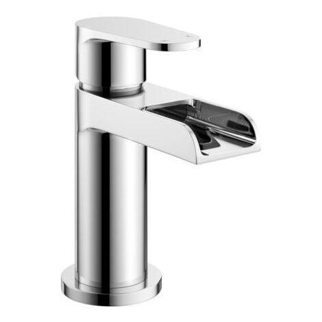 Aquarius Round Waterfall Bathroom Basin Sink Mono Mixer Tap including Free Waste