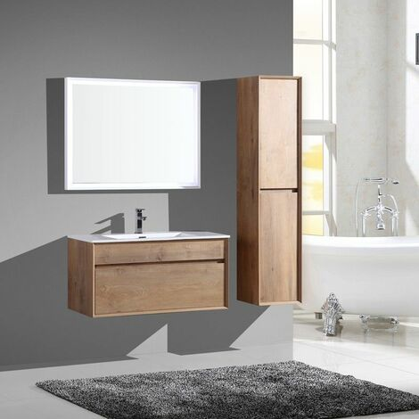 Aquaroca meuble bas avec vasque 2 tiroirs 1000 x 4100 x 4100 mm effet bois - JINDOLI