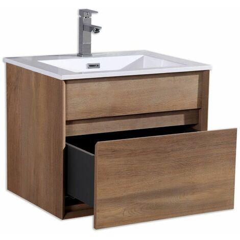 Aquaroca meuble bas avec vasque 2 tiroirs 600 x 460 x 480 mm effet bois - JINDOLI