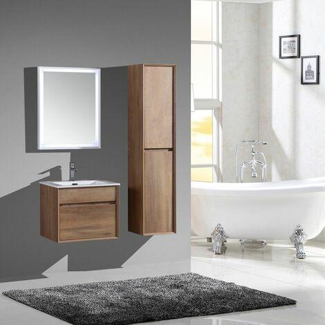 Aquaroca meuble bas avec vasque 2 tiroirs 800 x 480 x 480 mm effet bois - JINDOLI