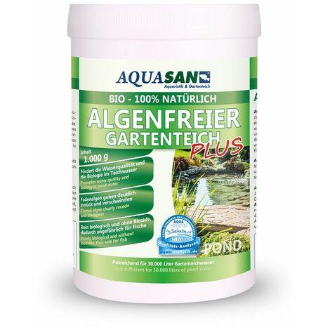 AQUASAN BIO-ALGOLESS Lebendiger Gartenteich PLUS (Fördert die Wasserqualität, reduziert Schadstoffe und Fadenalgen, Schwimmteiche, Teiche, Algenmittel)