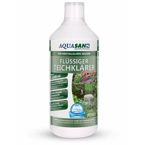 AQUASAN Gartenteich Flüssiger TeichKlärer PLUS (GRATIS Lieferung in DE - Sorgt schnell für kristallklares Wasser im Teich, bindet die Schwebstoffe im Teich-Wasser - Teichklar)