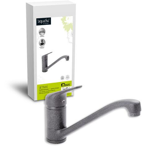 'aquaSu® 06398 2 Einhandmischer Jetmix für Spüle, Küchenspüle, Granit/Schwarz