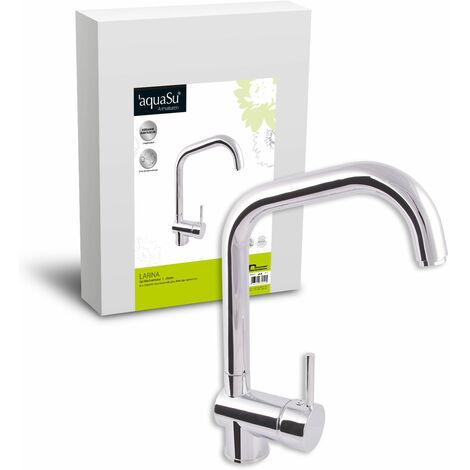 'aquaSu® 78022 3 Küchenarmatur Larina für Vorfenstermontage | Spültischarmatur Umklappbar | Unterfenstermontage | Einhandmischer Spüle | Wasserhahn | Chrom