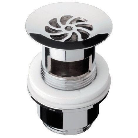 'aquaSu® Design Siebventil Exklusiv | nicht verschließbar | für Waschbecken mit Überlauf | chrom | rund | Standard-Anschluss: 1 1/4 | 25 - 55mm Schaftlänge | Ø 63 mm | Metall | 22684 4
