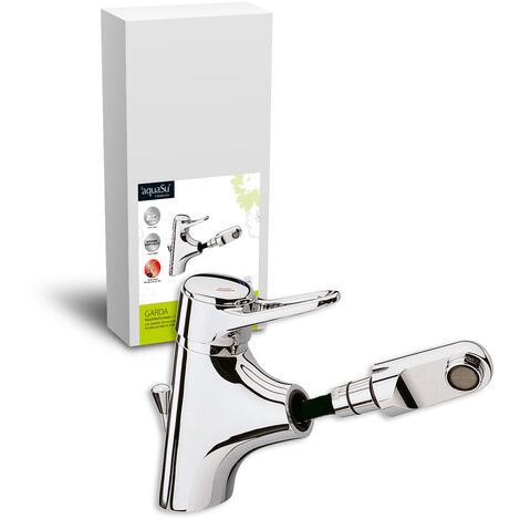 'aquaSu® Einhandmischer Garda für Waschtisch mit Geschirrbrause | Niederdruck | Chrom | Wasserhahn | Einhebelmischer