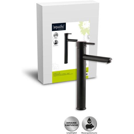 'aquaSu® Hohe Waschtischarmatur Lago 2.0 in schwarz mit Pop-Up Ventil und Wasserspar-Funktion, hoher Auslauf, Einhebelmischer mit Stickgriff, aus Messing mit Keramikkartusche, 78384 2