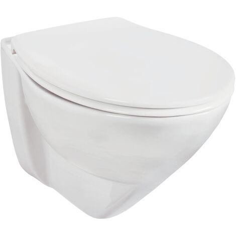 'aquaSu® Komfort Wand-WC Lidano 2.0 / +6 cm erhöht / Weiß / Tiefspüler / Toilette / Inklusive Sitz mit Absenkautomatik
