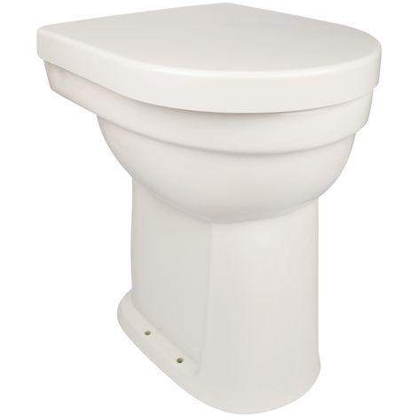 'aquaSu® Stand-WC-Set liDano +10 cm | Erhöhtes WC | Weiß | Inklusive WC-Sitz | Für Senioren und große Menschen | Flachspüler | Abgang innen senkrecht | Hoch | Komfort | Keramik | Badezimmer | Gäste-WC