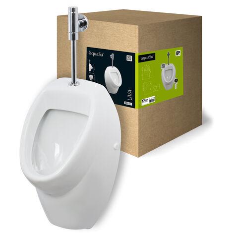 'aquaSu® Urinal Absaugeurinal Set , Druckspüler Zulauf von oben , Becken , weiß
