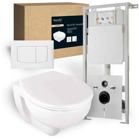 'aquaSu® Wand-WC Komplett-Set Spülrandlos | Inklusive Sitz | Tiefspüler Toilette | Inklusive Vorwandelement mit 2-Mengen-Spültechnik I Standardgröße I weiß