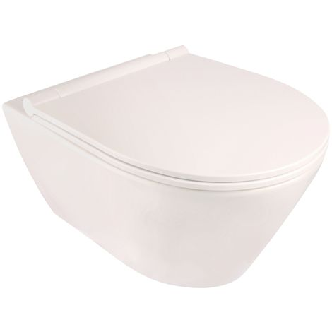'aquaSu® Wand-WC-Set laGon | Spülrandlos | Inklusive WC-Sitz | Tiefspüler | Weiß | Toilette | Spülrandloses WC | Klo | Hänge-WC | Randlos