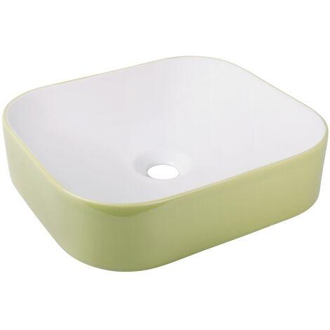 'aquaSu® Waschtisch cuandO 45 cm   eckiger Aufsatzwaschtisch in weiß-moosgrün   Waschbecken 45 x 40 cm zur Aufsatz-Montage   abgerundete Ecken   Höhe 11,5 cm   modernes Design   56858 6