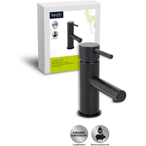 'aquaSu® Waschtischarmatur Lago 2.0 in schwarz mit Pop-Up Ventil und Wasserspar-Funktion, Einhebelmischer mit Stickgriff, aus Messing mit Keramikkartusche, 78382 8