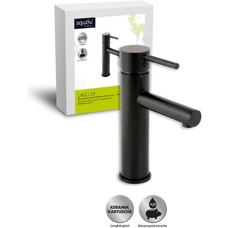 'aquaSu® Waschtischarmatur Lago 2.0 in schwarz mit Pop-Up Ventil und Wasserspar-Funktion, mittelhoch, Einhebelmischer mit Stickgriff, aus Messing mit Keramikkartusche, 78383 5