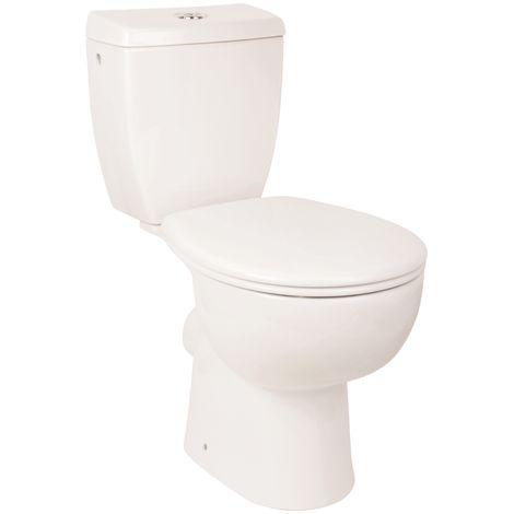 'aquaSu® WC-Kombination ohne Spülrand | Stand-WC | Randloses WC | Inklusive Spülkasten und WC-Sitz mit Soft-Close-Absenkautomatik | Tiefspüler | Abgang waagerecht | Weiß