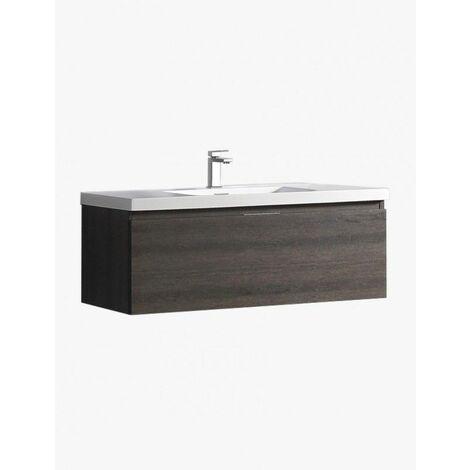 Aquaterra meuble salle de bain suspendu 1 tiroir 1190 x 457 x 400 mm pierre anthracite - JINDOLI
