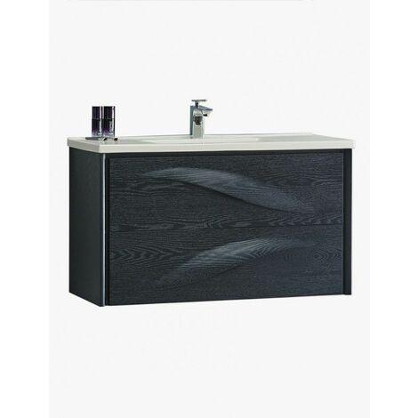 Aquavento meuble salle de bain suspendu 2 tiroirs 790 x 560 x 450 mm chene lasure noir - JINDOLI