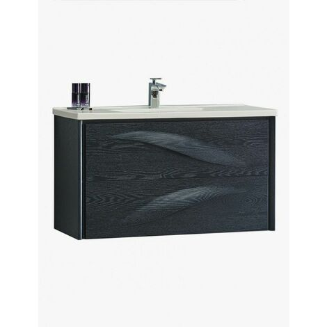 Aquavento meuble salle de bain suspendu 2 tiroirs 990 x 560 x 450 mm chene lasure noir - JINDOLI