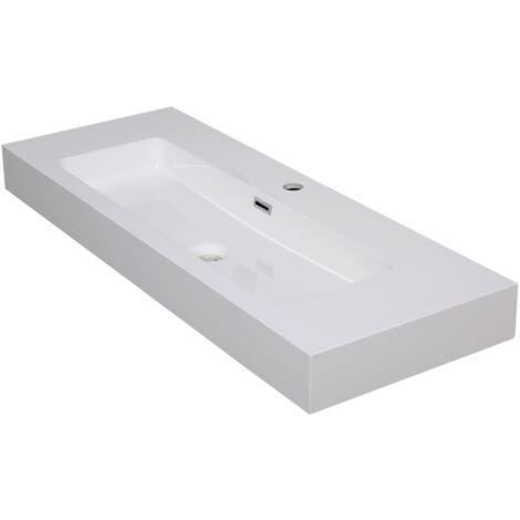Aquazuro Arezzo Waschbecken - Glänzend weiß - 60 x 18 x 11,8 cm
