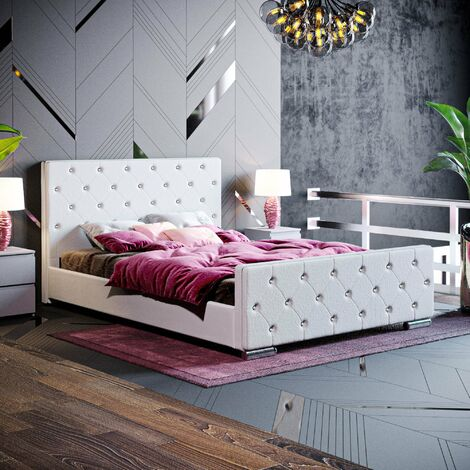 "main image of ""Arabella Double Bed, Light Grey Linen"""