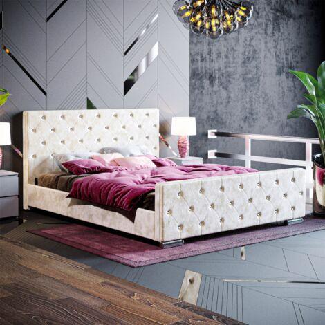 Arabella King Size Bed, Crushed Velvet Champagne