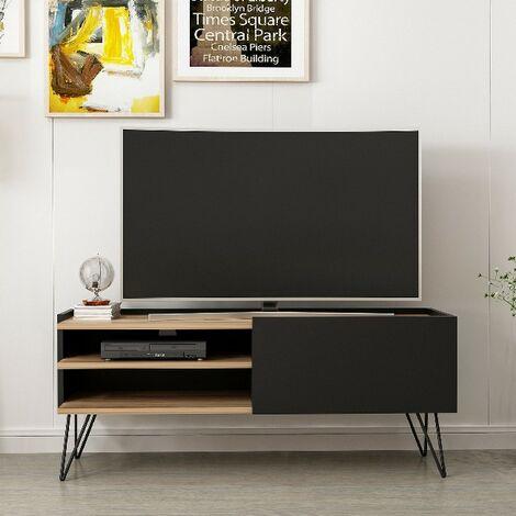 Aral Tv Stand - Modern - with Doors, Shelves, Shelves - Living Room - Black, Wood, Metal, 124 x 37 x 50 cm