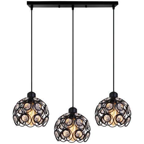 Araña Clásica Retro Lámpara Colgante Moderna de Cristal Lámpara de Techo de 3 Luces Creative para Barra de Dormitorio, Oficina, Negro