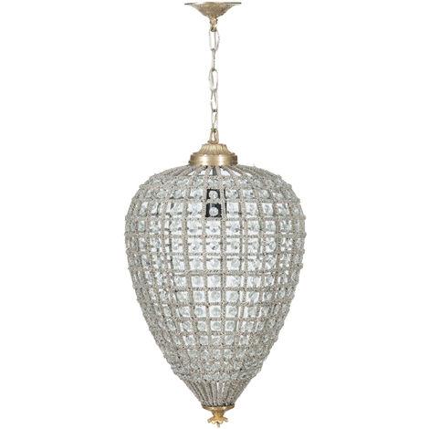 Araña de fundición de bronce y gemas en cristal, Diam. 30XH50 cm