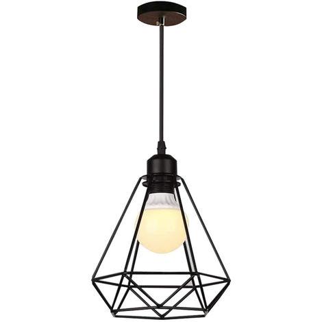 Araña Retro E27 Lámpara de Techo Industrial de Metal Lámpara de Techo Sombra Negro Vintage Lámpara de Colgante de Diamante Industrial para Cocina Comedor Dormitorio Cafe Bar