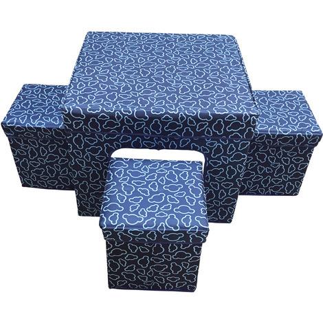Aranaz - Conjunto Suit azul mesa + 4 puff