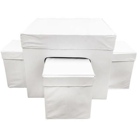 Aranaz - Conjunto Suit blanco mesa + 4 puff